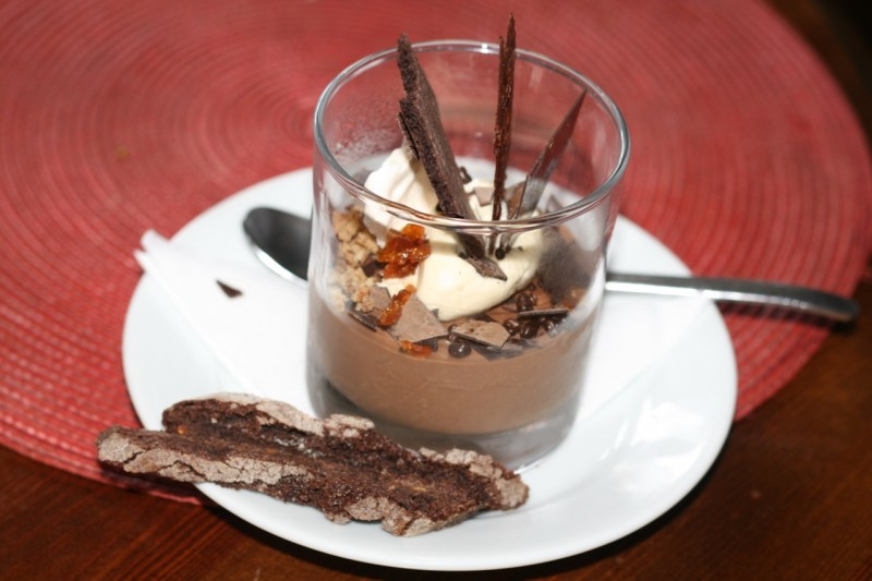 Chocolate egg custard pot with biscuit soldiers